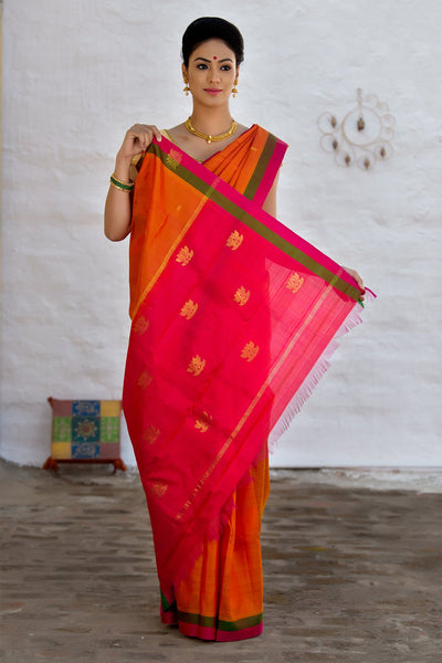 Red And Fire Orange Pure Silk Saree