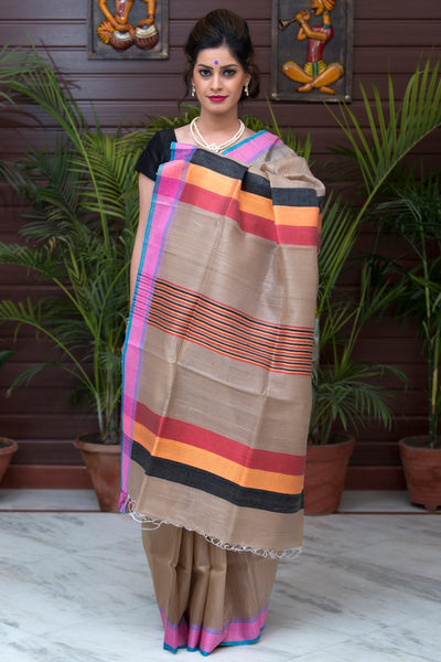 Beige Red Yellow Black Pure Kosa Silk Saree