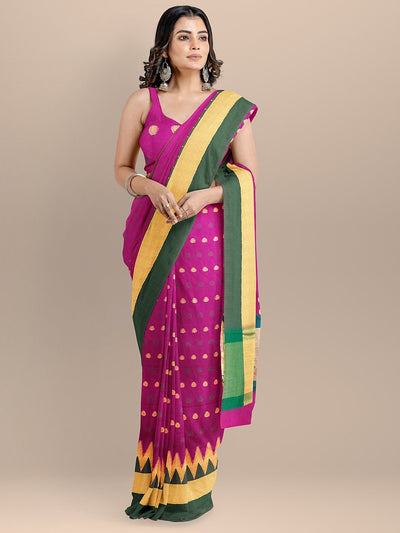 Magneta Color Silk Cotton Woven Design Banarasi Saree