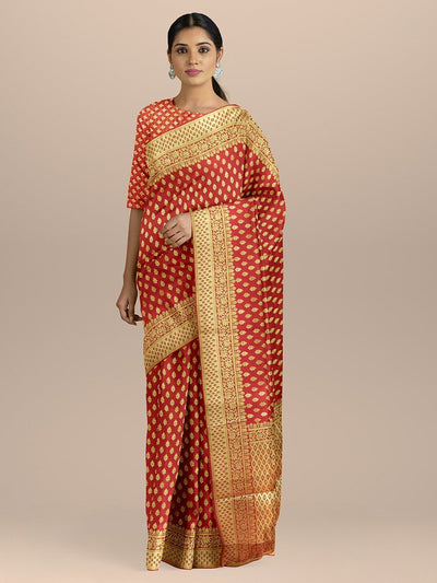 Red Color Banarasi Silk Saree with Golden Small Zari Booty and pallu