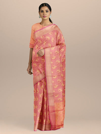 Pink Color Cotton Silk Saree with Golden Zari Booties and Heavy pallu