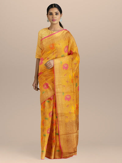 Yellow Color Cotton Silk Patola Saree