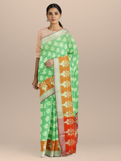 Kelly Green Cotton Silk Saree with Golden Booties and pallu