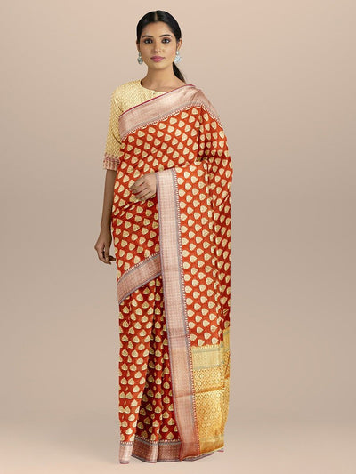 Rust Orange Color Uppada Silk Saree with Golden Zari Booties and Heavy pallu