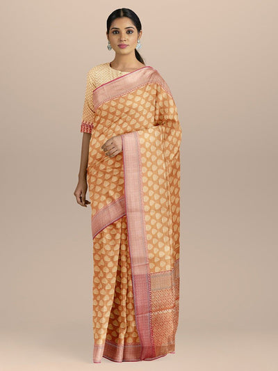 Peach Color Banarasi Silk Saree with Golden Zari Booties and pallu