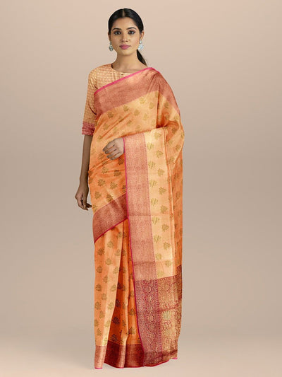 Peach Color with Uppada Silk Saree with Golden Zari Booties and Heavy pallu