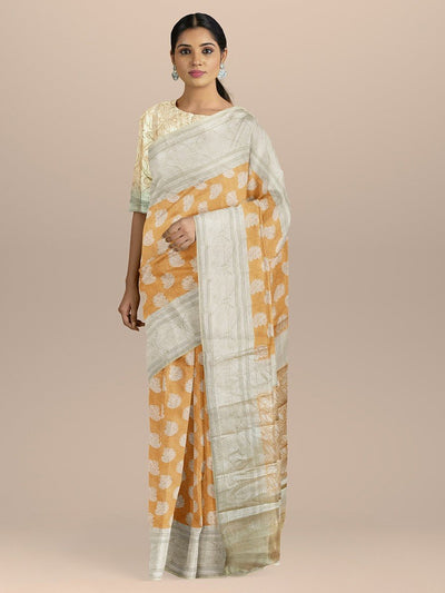 Oragne Color Banarasi Tissue Saree