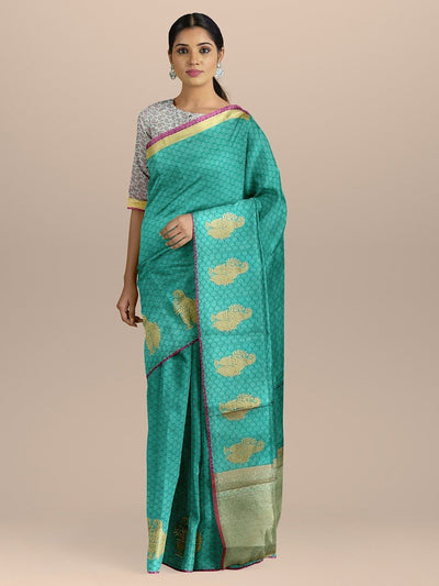 Blue Color Kanjivaram Silk Saree with Golden Zari Booties and Heavy pallu