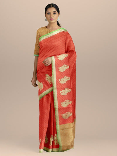 Red Color Kanjivaram Silk Saree with Contrast pallu