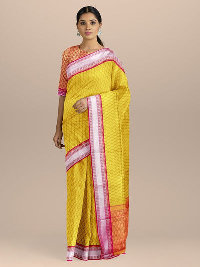 Yellow Color Kanjivaram Silk Saree with Silver Zari Border