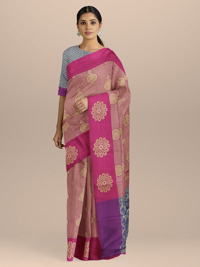 Magenta Pink Color Dharmavaram Silk Saree with Contrast Border and Pallu