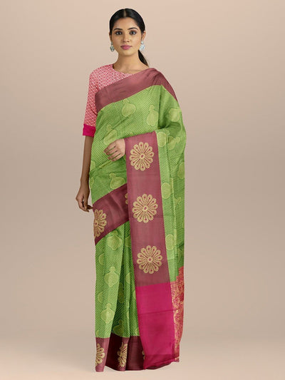 Green Color Dharmavaram Silk Saree with Contrast Border and Pallu