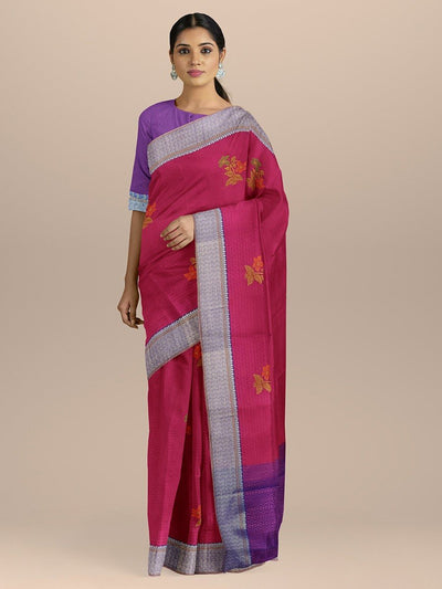 Dark Magenta Color Kanjivaram Silk Saree