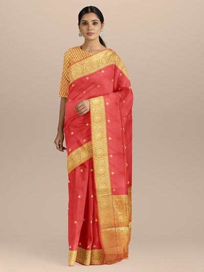 Peach Pink Color Banarasi Silk Saree with Golden Small Zari Booty and pallu