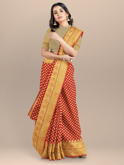 Red Color Banarasi Silk Saree with Golden Zari Booties and Border