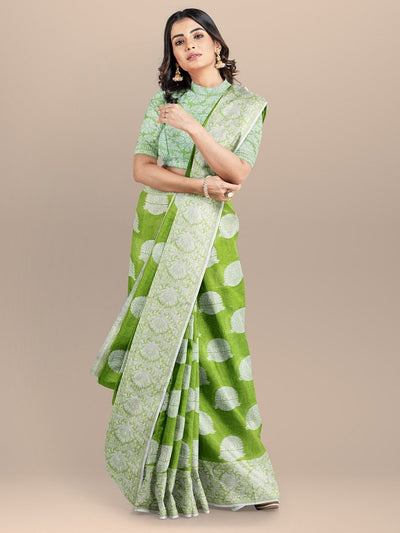 Lime Green Color Banarasi Cotton Silk Saree with Thread Booties