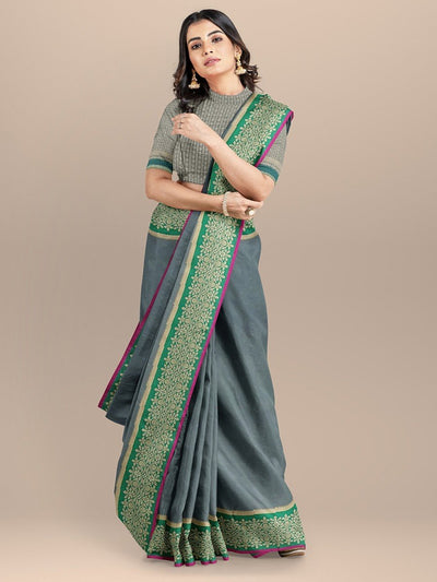 Grey Color Woven Design Banarasi Saree