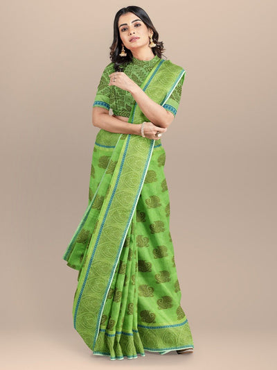 Green Color Woven Design Banarasi Saree