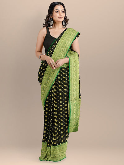 Black Color Silk Cotton Woven Design Banarasi Saree