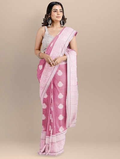 Pink Color Silk Cotton Woven Design Banarasi Saree