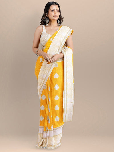 Yellow Color Silk Cotton Woven Design Banarasi Saree