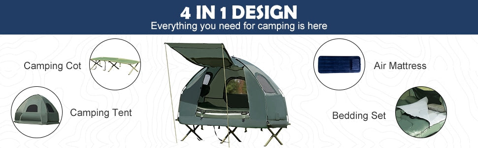 1-Person Portable Pop-Up Camping Tent Cot with Air Mattress and Sleeping Bag