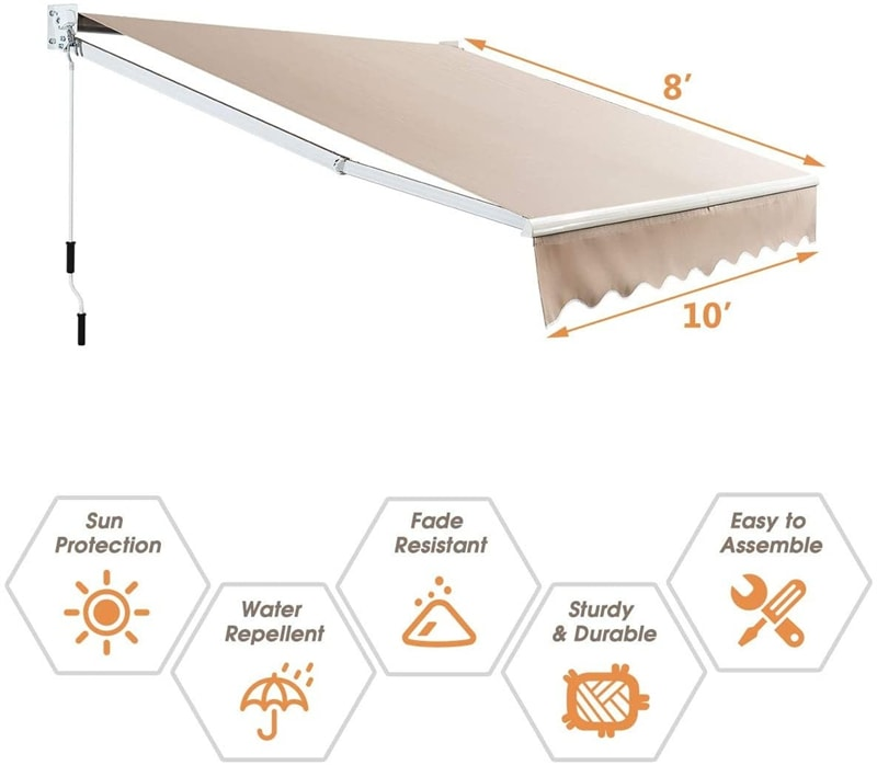 10' x 8' Retractable Patio Awning Outdoor Shade with Crank Handle
