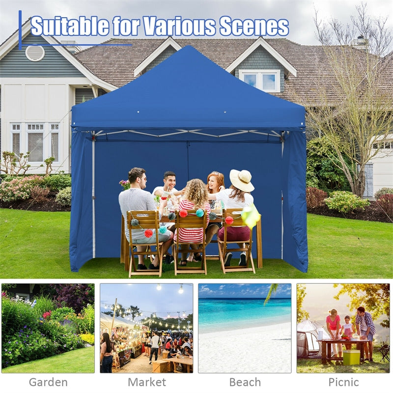 10' x 10' 8 Sidewalls Pop up Canopy Tent Outdoor Party Gazebo w/Adjustable Awning