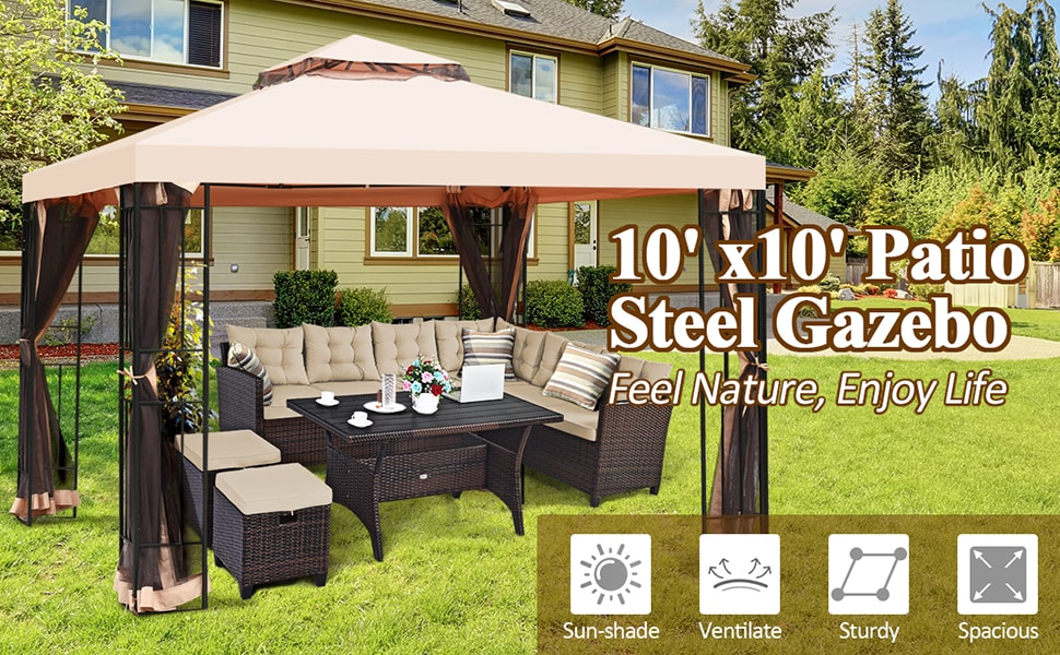 10x10 FT 2 Tier Vented Steel Patio Gazebo Canopy with Netting Curtain
