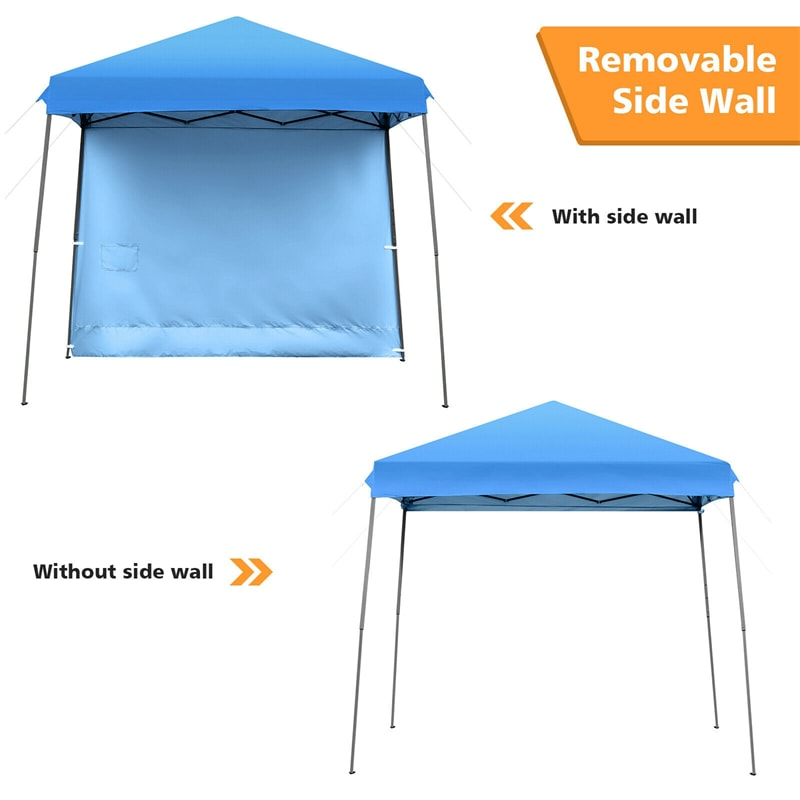 10x10 ft Slant Leg Pop up Canopy Tent with Detachable Side Wall