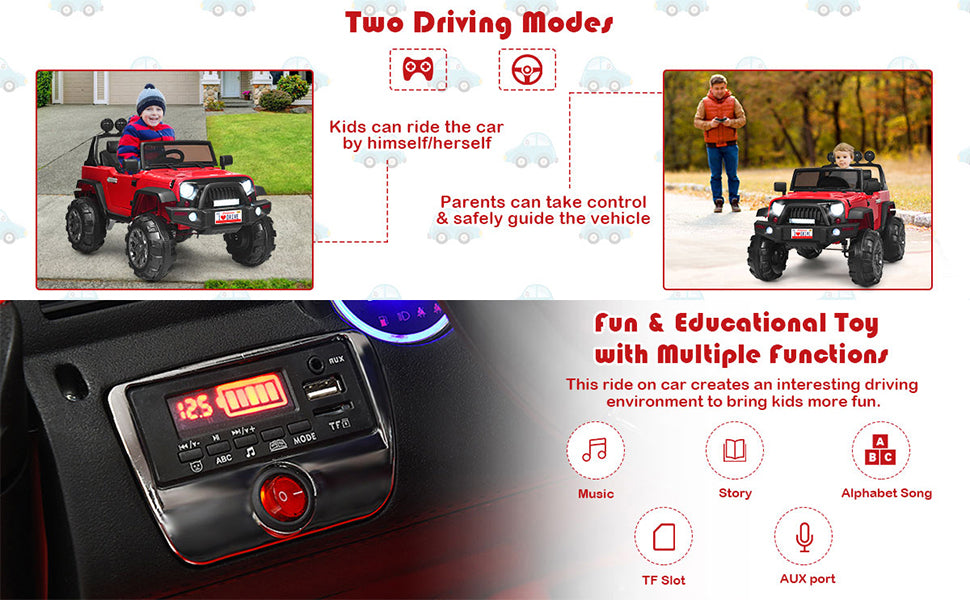 12V Battery Powered Electric Vehicle Kids Ride On Truck with Parent Remote Control