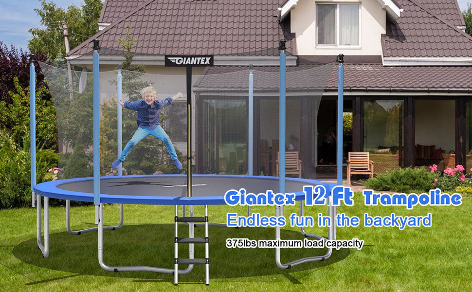 12 Ft Outdoor Trampoline Combo Bounce with Enclosure Net and Ladder