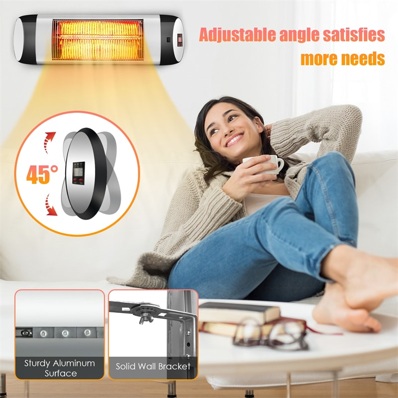 1500W Wall-Mounted Electric Patio Heater with Remote Control