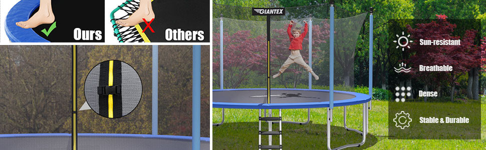 14 Ft Outdoor Trampoline Combo Bounce with Enclosure Net and Ladder