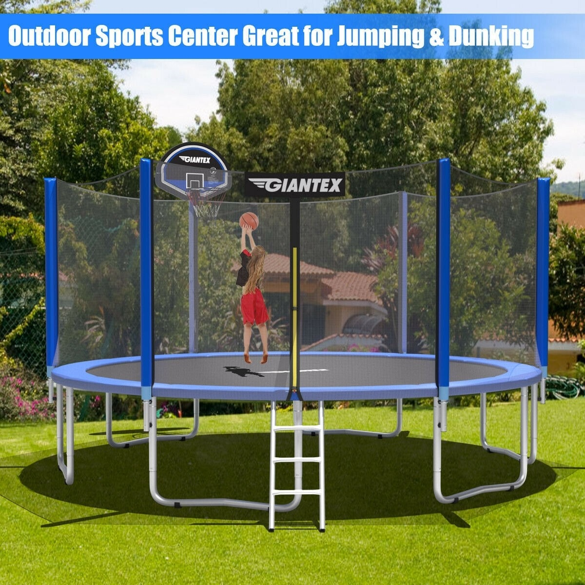 14 ft Round Trampoline with Safety Enclosure Net and Basketball Hoop