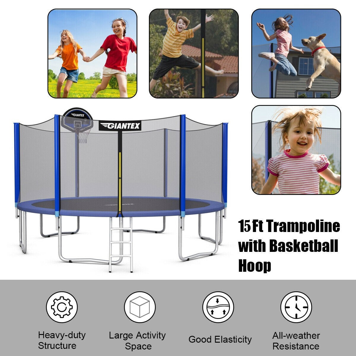 15 ft Round Trampoline with Safety Enclosure Net and Basketball Hoop