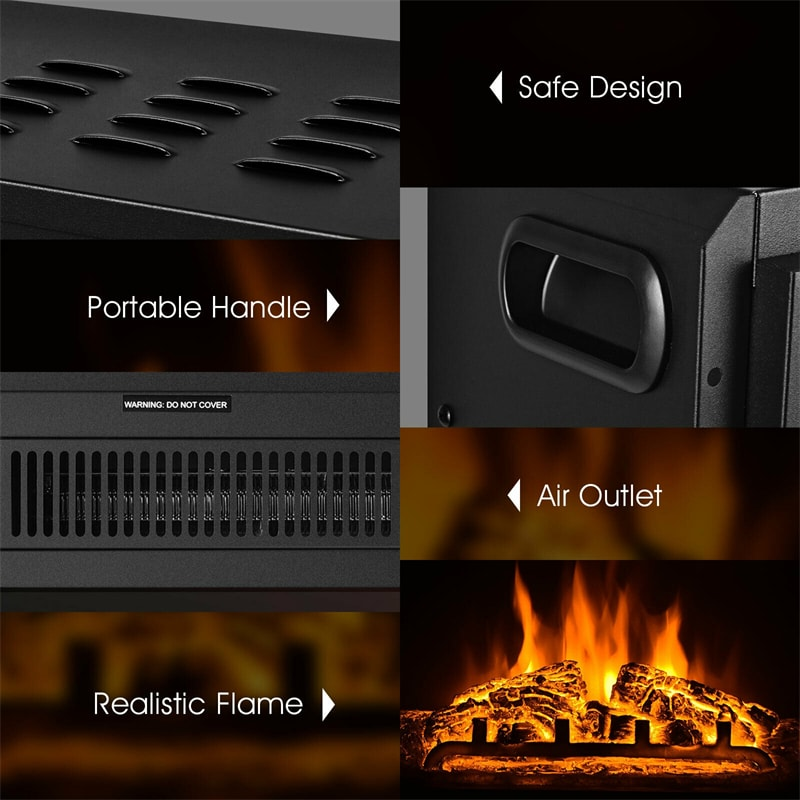 """18"""" Electric Fireplace Insert Freestanding Recessed Heater with Remote Control"""