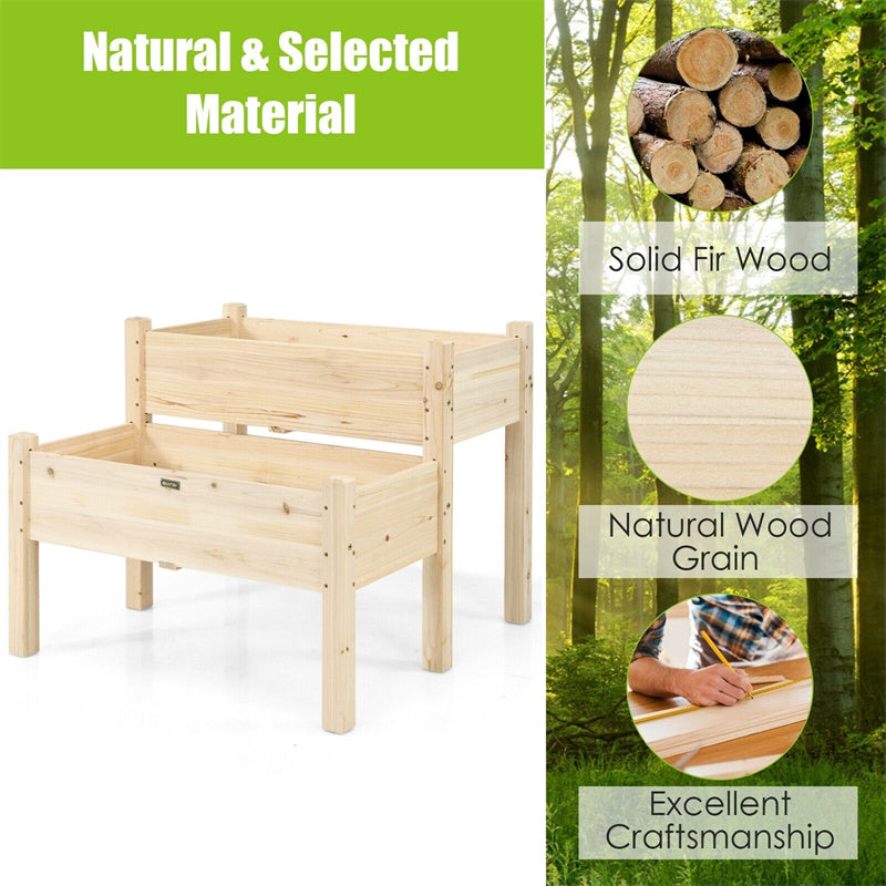2-Level Wooden Raised Garden Bed Elevated Planter Box with Legs