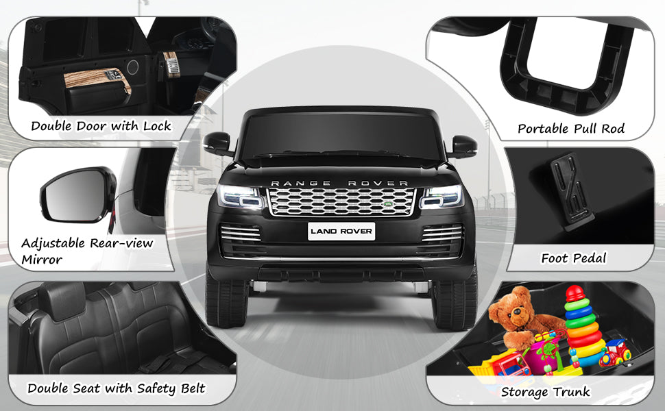 2-Seater Licensed Land Rover 24V Power Battery Kids Ride On Car Toy w/Remote Control