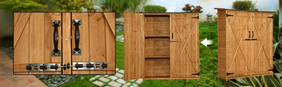 2.5 X 2 Ft Outdoor Wooden Storage Shed with Double Doors