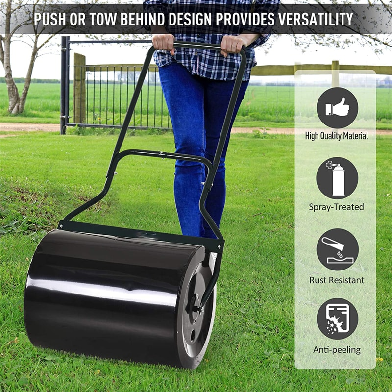 20 Inch Heavy Duty Push Tow-Behind Lawn Roller Filled With Water Sand