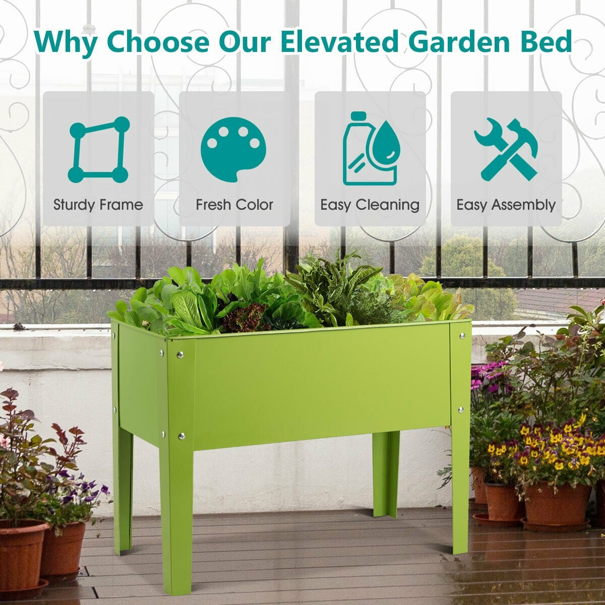 24.5 L x 12.5 W Outdoor Metal Raised Garden Bed Elevated Planter Box_0