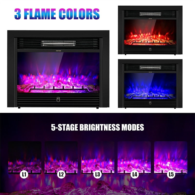 """28.5"""" Recessed Mounted Standing Electric Fireplace Insert Heater with 3 Color Flames"""