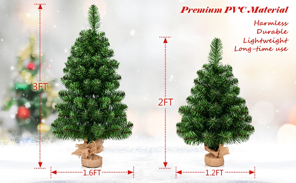 3 Ft Tabletop Artificial Christmas Tree Green Spruce Tree