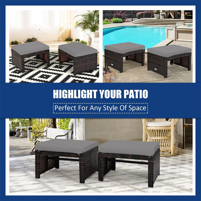2 Pieces Patio Rattan Cushioned Ottomans Footstools