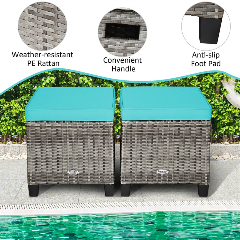 2 Pieces Rattan Wicker Patio Ottomans Seat with Removable Cushions