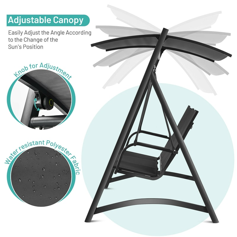 3-Person Aluminum Outdoor Porch Swing Chair with Adjustable Canopy