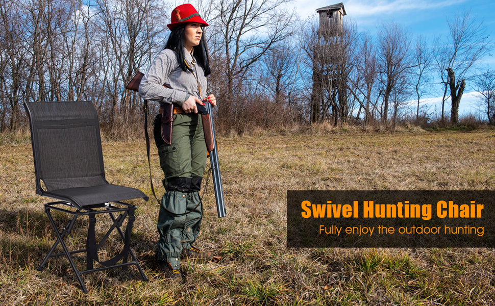360 Degree Swivel Foldable Hunting Blind Chair with Mesh Backrest