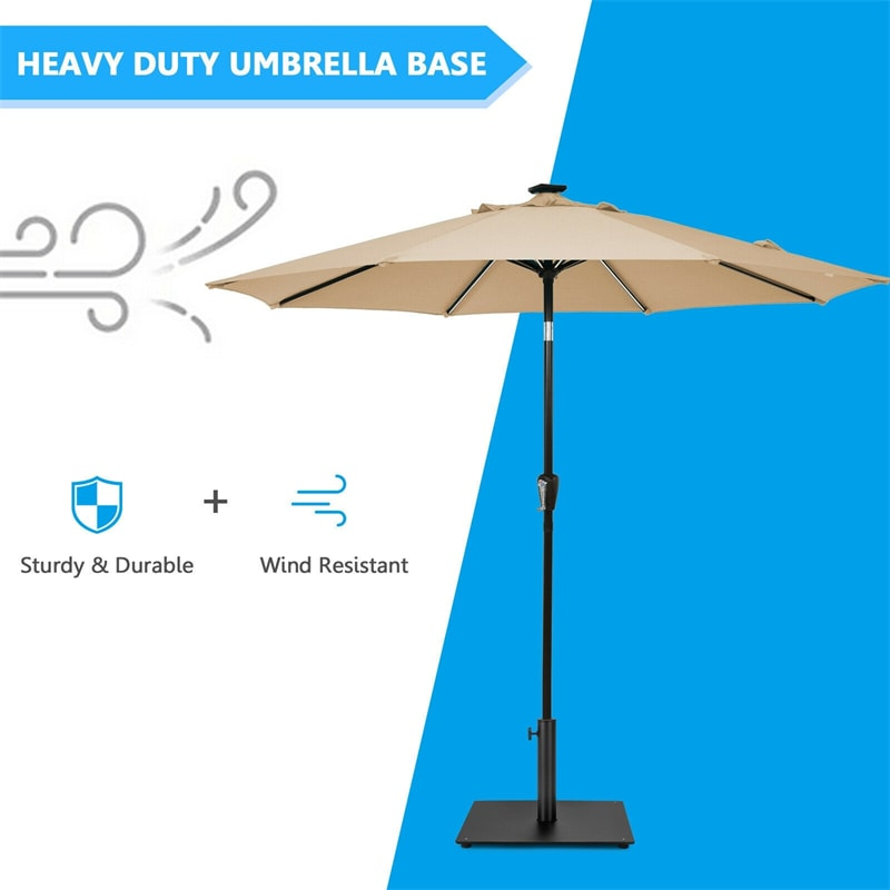 36 lbs Square Patio Umbrella Base Stand with 3 Adapters and Adjustable Foot