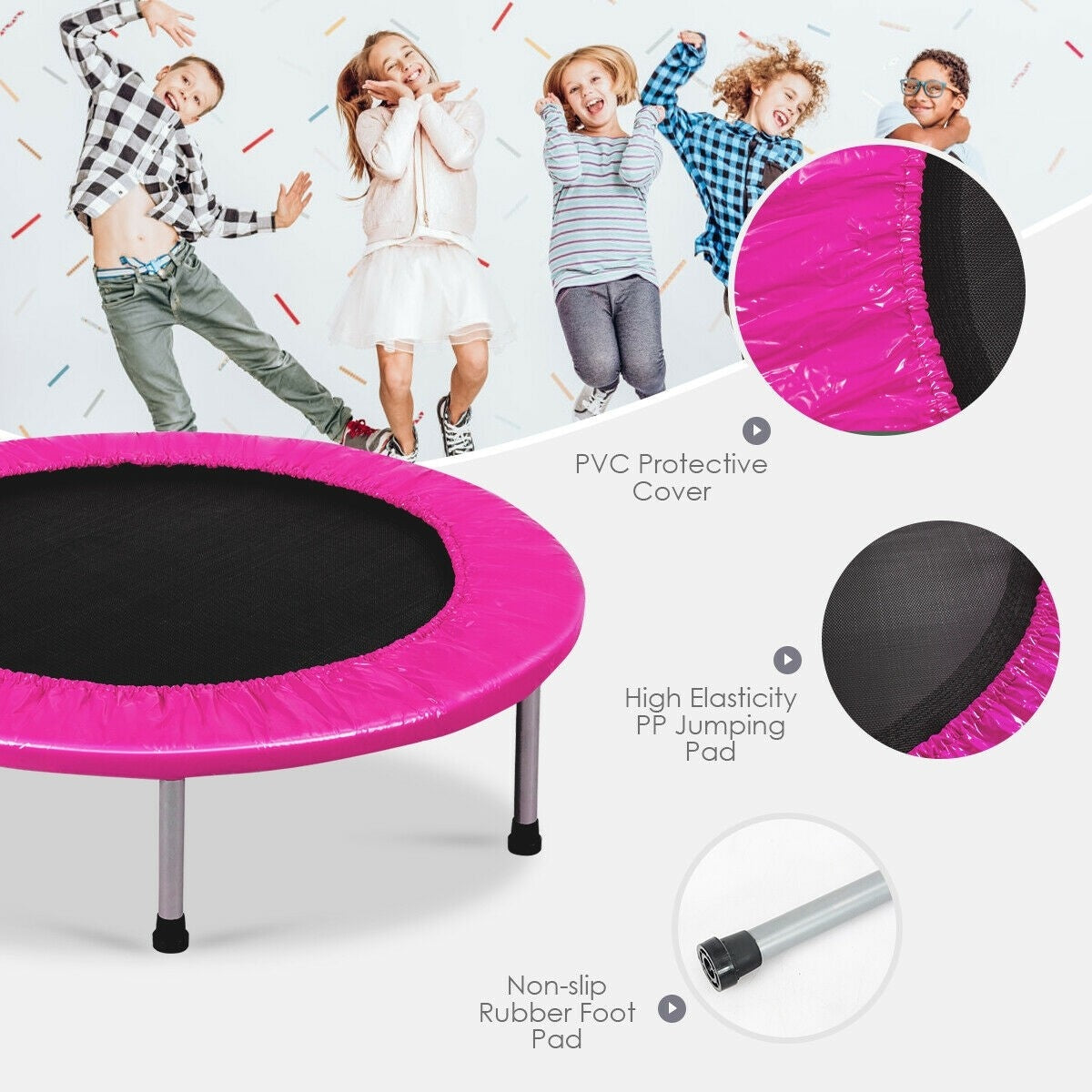 """38"""" Mini Fitness Folding Trampoline with Padding and Springs"""